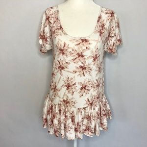 Lucky Brand White & Maroon Palm Tree Top